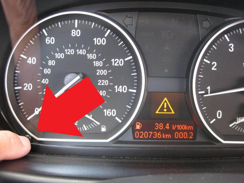 BMW odometer location